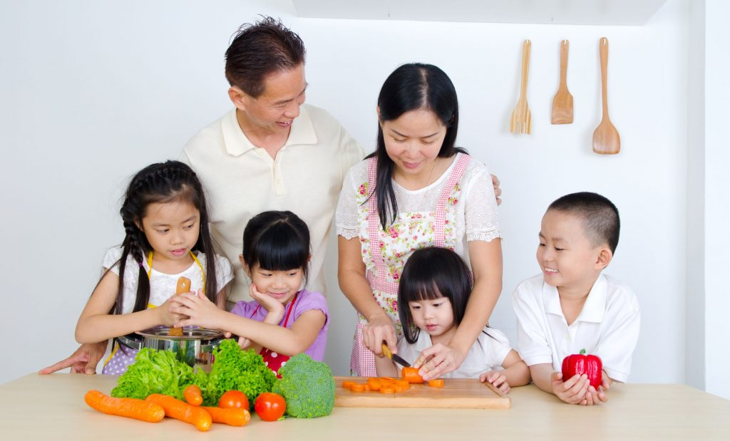 44839179 - asian family in the kitchen