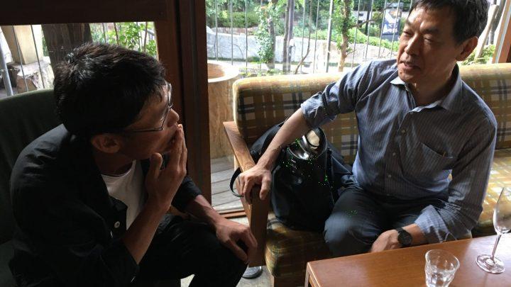 ゼミナールを終えて懇親会会場(渋谷:デイライトキッチン)にてくつろぐお二人。